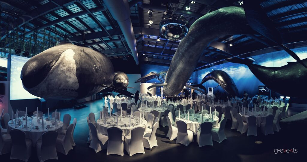 Gala dinner at The Whale Museum for 300 employees of Rio Tinto Alcan at event planned by g-events dmc | pco.