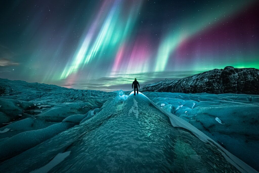 Northern lights seen from a glacier.
