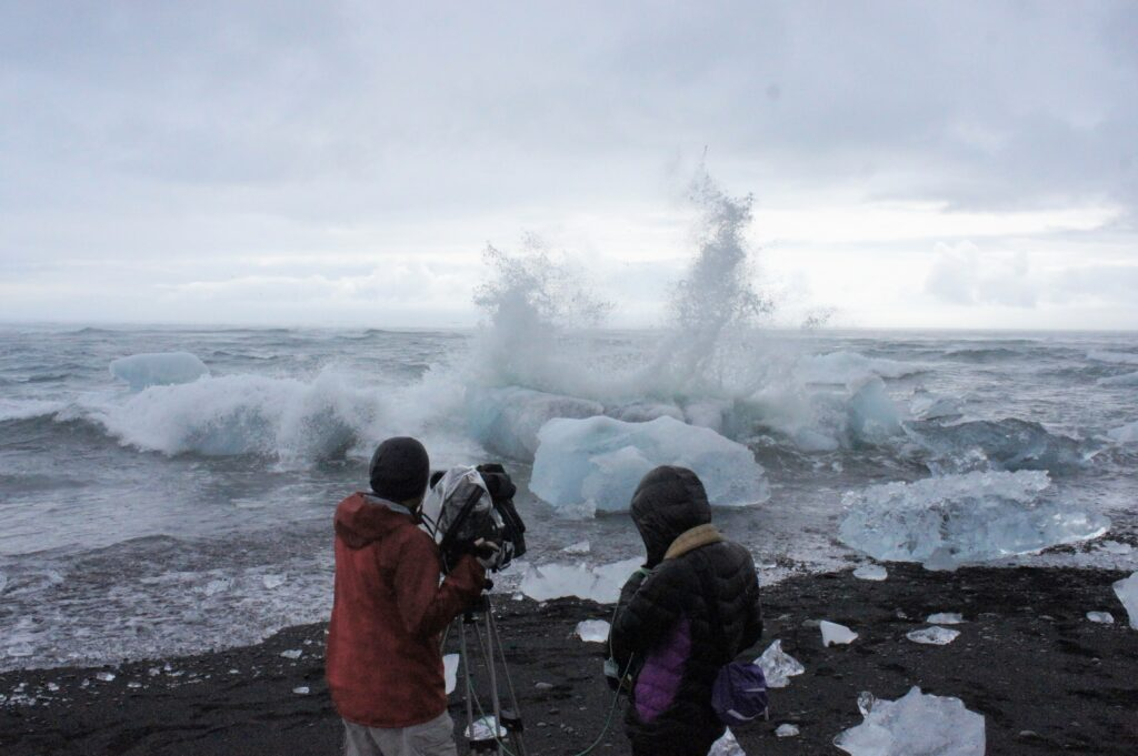 The Japanese national TV shooting at Diamond Beach next to Glacier Lagoon.